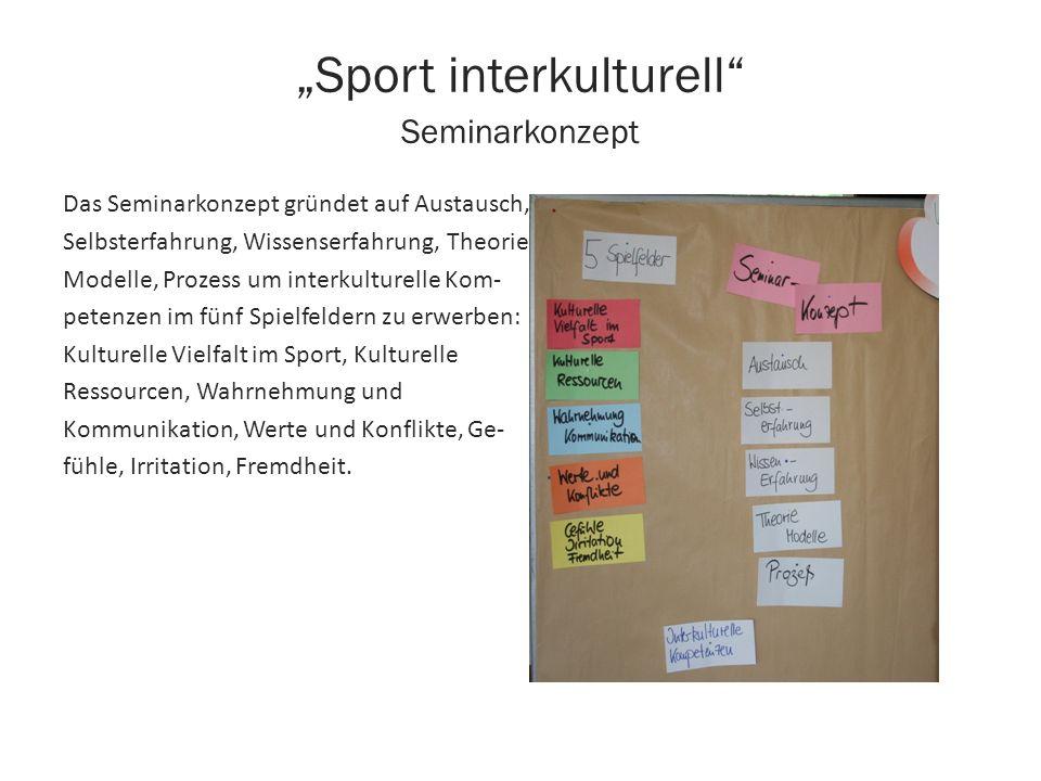 Sport interkulturell Seminarkonzept Das Seminarkonzept gründet auf Austausch, Selbsterfahrung, Wissenserfahrung, Theorie- Modelle, Prozess um interkul
