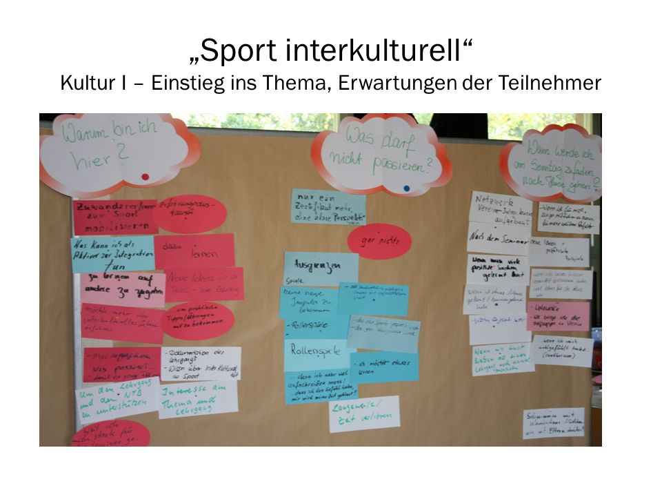 Sport interkulturell Kultur II – Eigene Prägungen Im Steuerrad tragen die Teilnehmer die prägendsten Erfahrungen ein und diskutieren in Kleingruppen über ihre Erlebnisse.