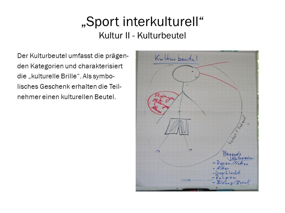 Sport interkulturell Kultur II - Kulturbeutel Der Kulturbeutel umfasst die prägen- den Kategorien und charakterisiert die kulturelle Brille. Als symbo