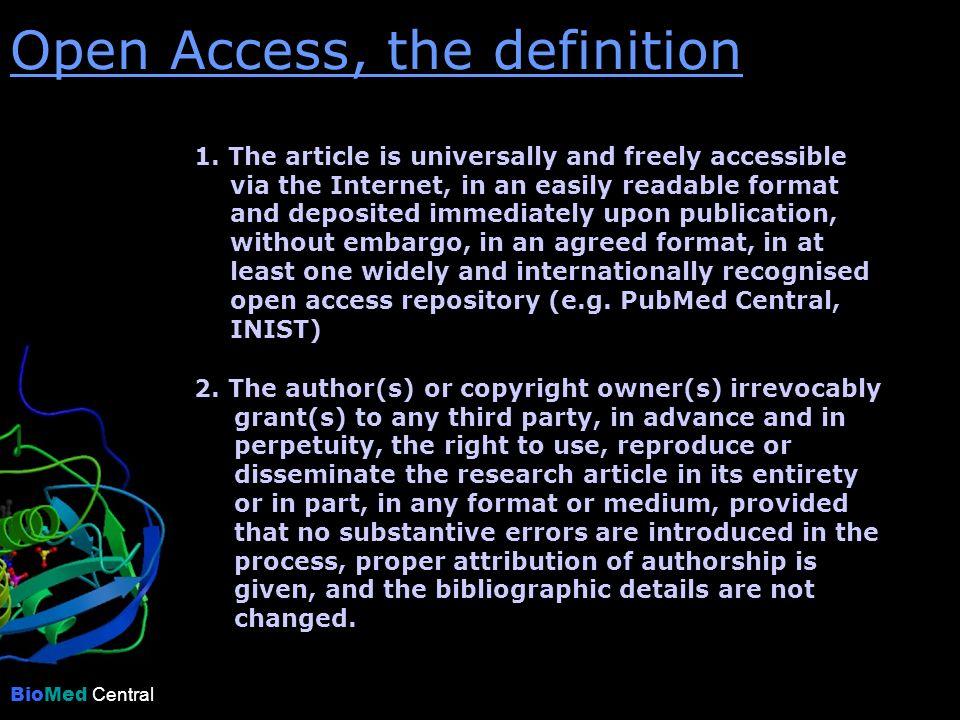BioMed Central Der Open Access Verlag Kontakt: Dr.