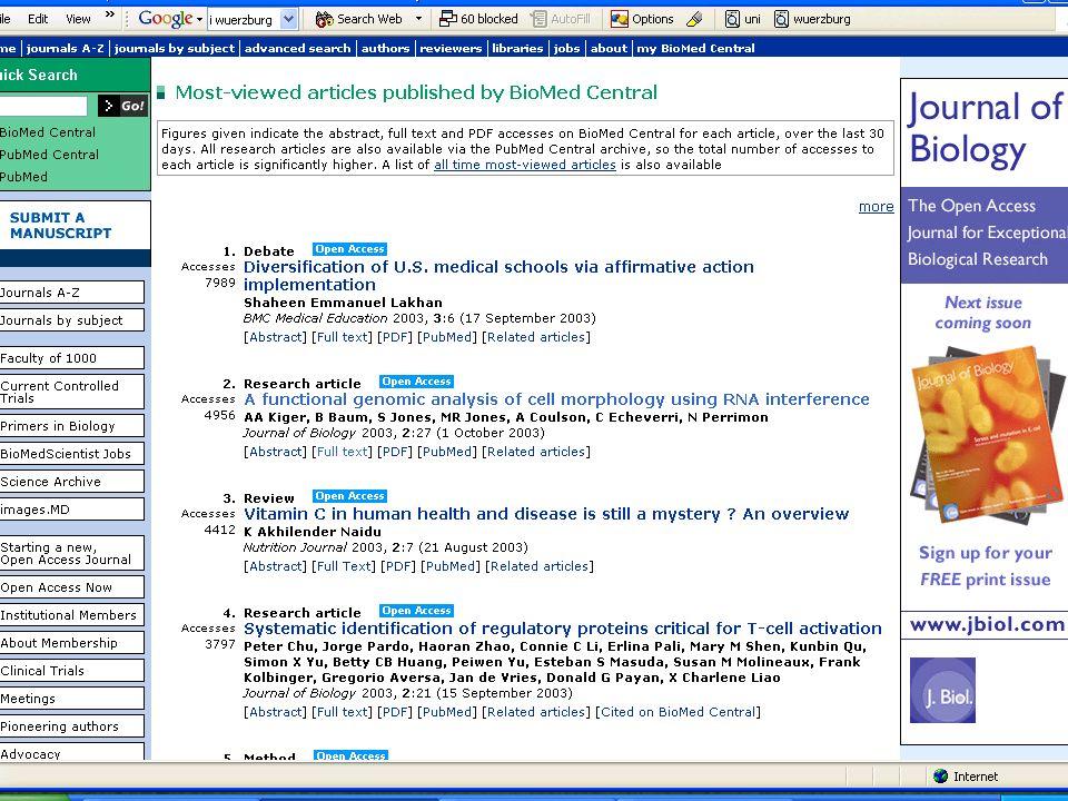 BioMed Central Die Artikel mit den höchsten Zugriffsraten der letzten 30 Tage BioMed Central