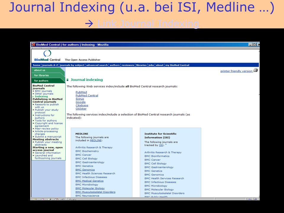 BioMed Central Journal Indexing (u.a.