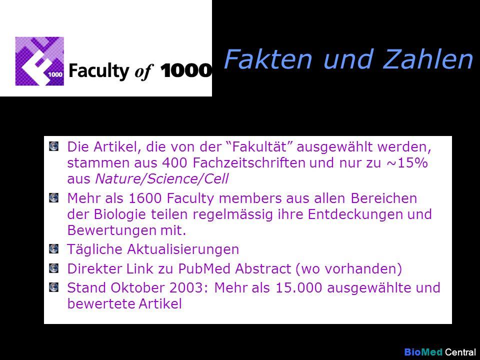 www.facultyof1000.com BioMed Central … ist ein Online-Service, durch den Biologen über ein weltweites Netz von 1600 führenden Wissenschaftlern systematisch auf wichtige Forschungsbeiträge in ihrem und in angrenzenden Gebieten hingewiesen werden.