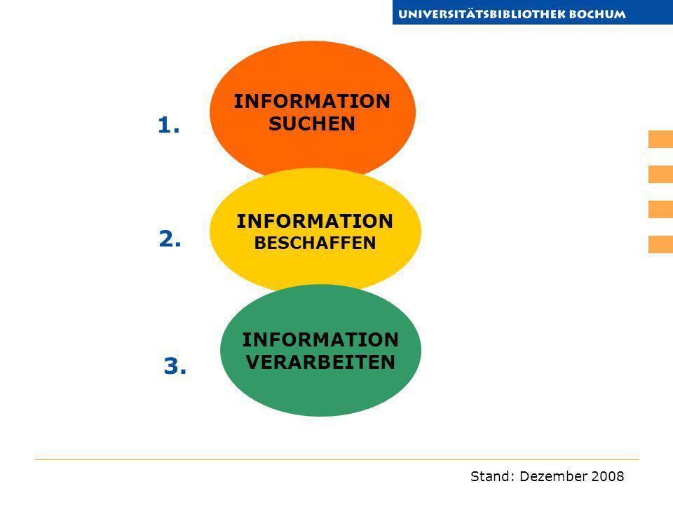 Stand: Dezember 2008 INFORMATION SUCHEN INFORMATION BESCHAFFEN INFORMATION VERARBEITEN 1. 2. 3.