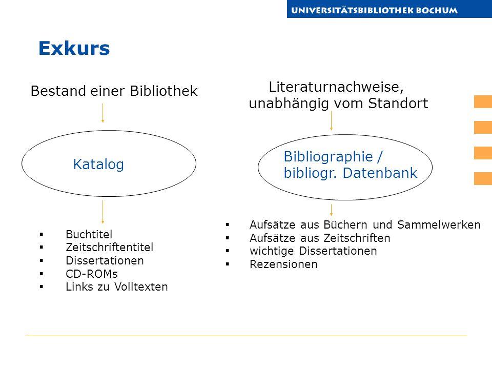 Buchtitel Zeitschriftentitel Dissertationen CD-ROMs Links zu Volltexten Katalog Bibliographie / bibliogr. Datenbank Buchtitel Zeitschriftentitel Aufsä