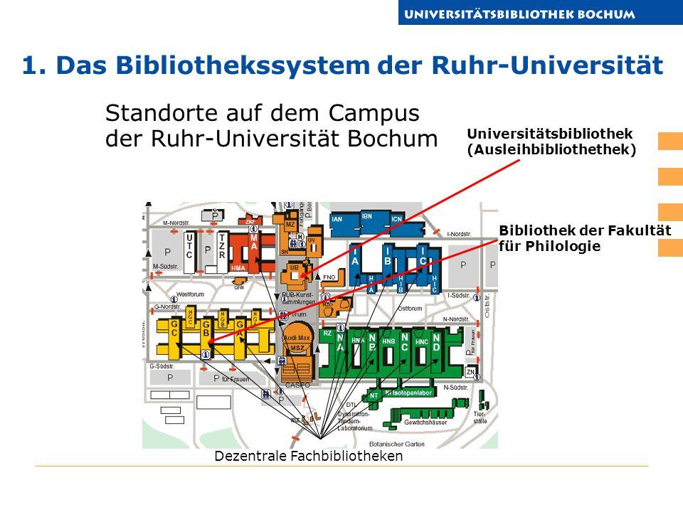 Standorte auf dem Campus der Ruhr-Universität Bochum Universitätsbibliothek (Ausleihbibliothethek) 1.
