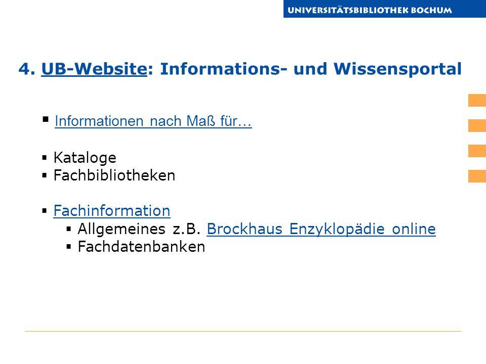 Informationen nach Maß für… Kataloge Fachbibliotheken Fachinformation Allgemeines z.B.
