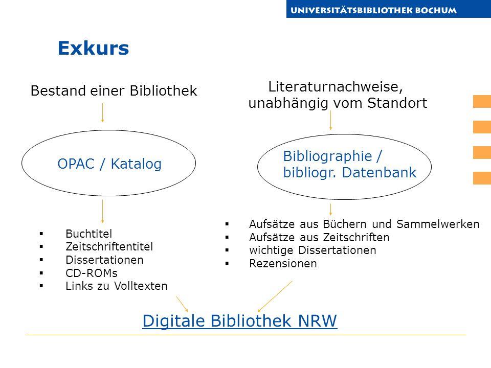 Buchtitel Zeitschriftentitel Dissertationen CD-ROMs Links zu Volltexten OPAC / Katalog Bibliographie / bibliogr.