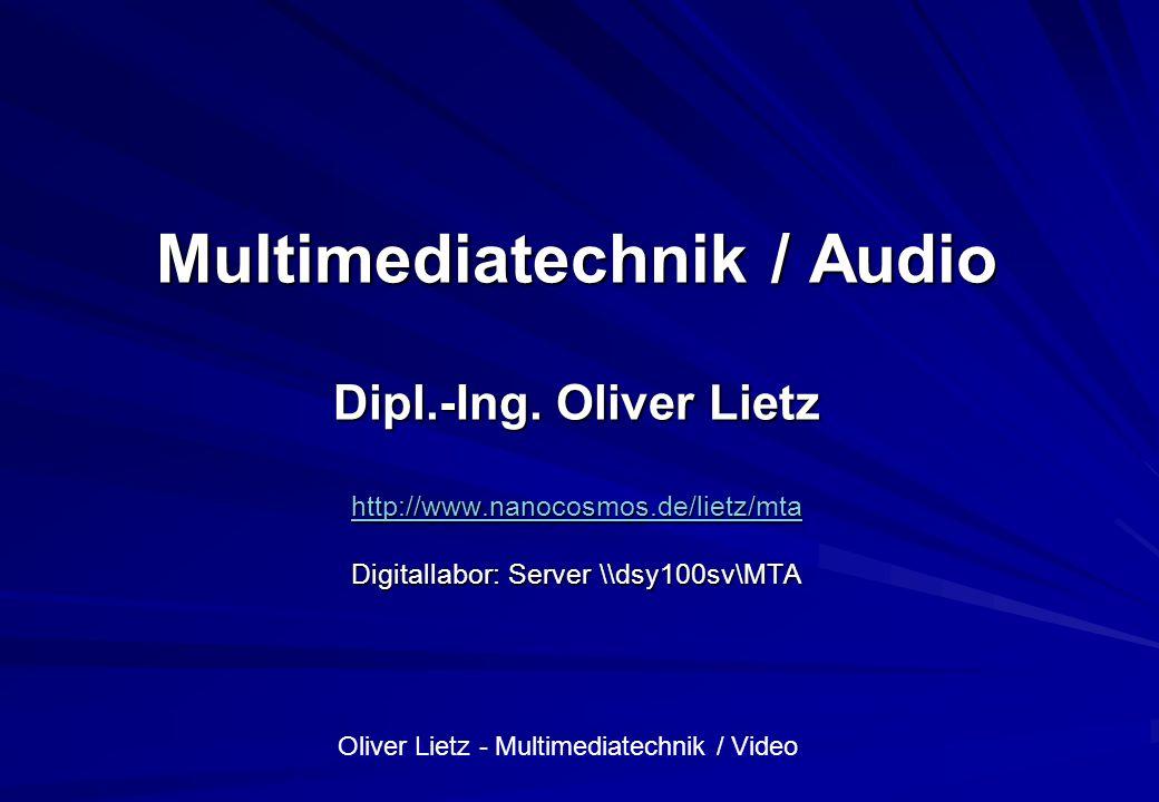 Oliver Lietz - Multimediatechnik / Video Übersicht Organisatorisches Organisatorisches Person Person Fachlicher Überblick Fachlicher Überblick Übungen Übungen