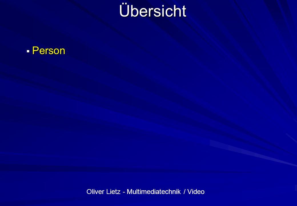 Oliver Lietz - Multimediatechnik / Video Datenmenge PCM Beispiel: 44.1 kHz (Samples/Sekunde) 16 Bit/Sample Auflösung Datenmenge: 44100 * 2 Bytes = 88200 Bytes/Sekunde je Kanal