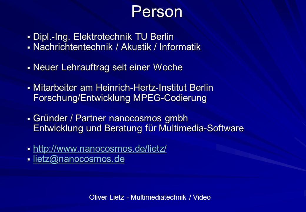 Oliver Lietz - Multimediatechnik / Video Dateiformate und Codecs Wave (Microsoft) –Container/Kapselung verschiedener Formate (Codecs) –RIFF-Datenpakete (Chunks), ähnlich AVI –chunkID –chunkSize –wFormatTag (short) –wChannels (unsigned short) –dwSamplesPerSec (unsigned int) –dwAvgBytesPerSec (unsigned int) –wBlockAlign (unsigned short) –wBitsPerSample (unsigned short)