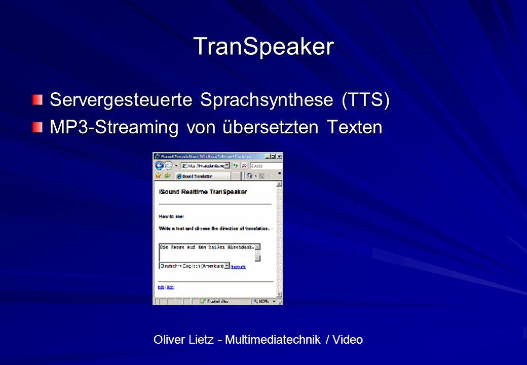 Oliver Lietz - Multimediatechnik / Video Übung: Audiospur aus Video extrahieren VirtualDub.exe File/Open loriot.avi File/Properties: Formate für Bild und Ton File/Save As WAV: loriot1.wav Abspielen mit MediaPlayer Warum ist nichts zu hören.