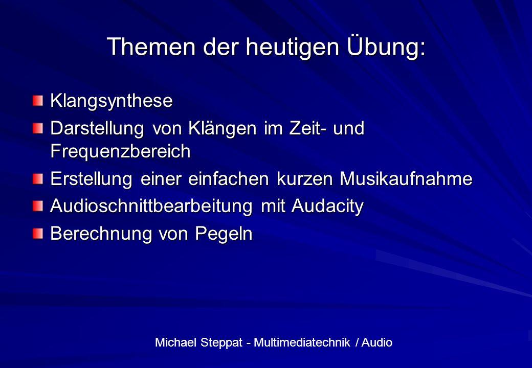 Michael Steppat - Multimediatechnik / Audio Themen der heutigen Übung: Klangsynthese Darstellung von Klängen im Zeit- und Frequenzbereich Erstellung e