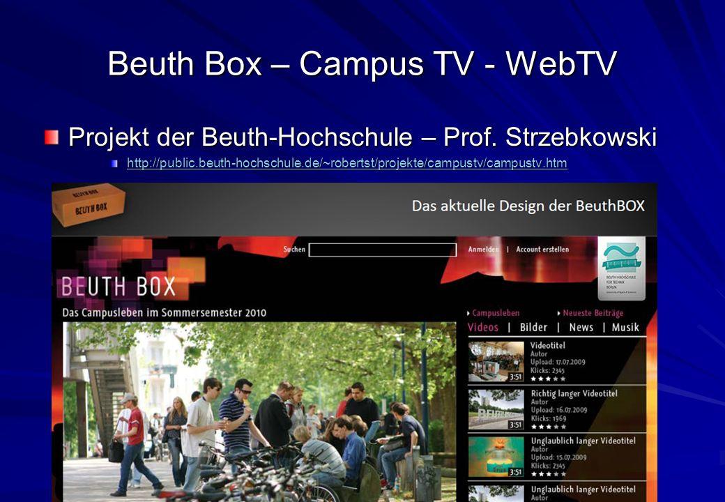 Oliver Lietz – Mobile Software– http://www.nanocosmos.de/lietz Beuth Box – Campus TV - WebTV Projekt der Beuth-Hochschule – Prof.
