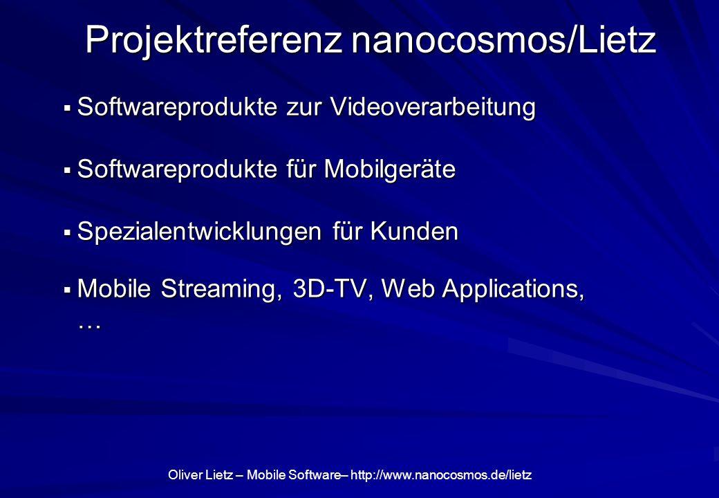 Oliver Lietz – Mobile Software– http://www.nanocosmos.de/lietz Weitere Anwendungen Sleep Cycle: Aufwachen nach Plan (Beschleunigungssensor)