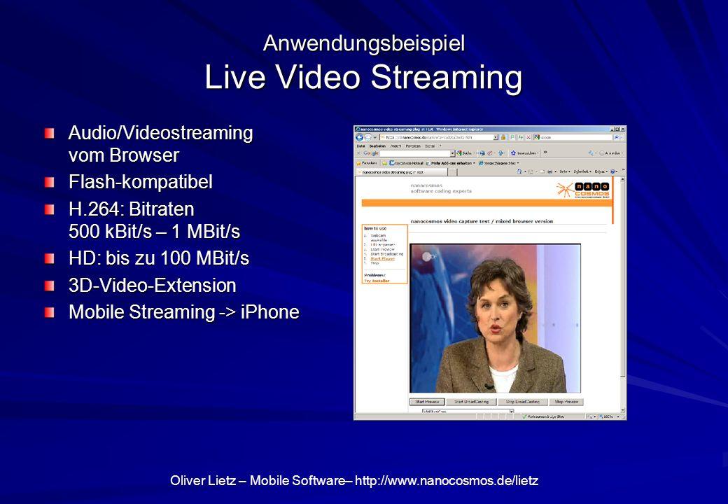 Oliver Lietz – Mobile Software– http://www.nanocosmos.de/lietz VideoStreaming goes 3D 3D-LiveVideo Encoding & Streaming - Software