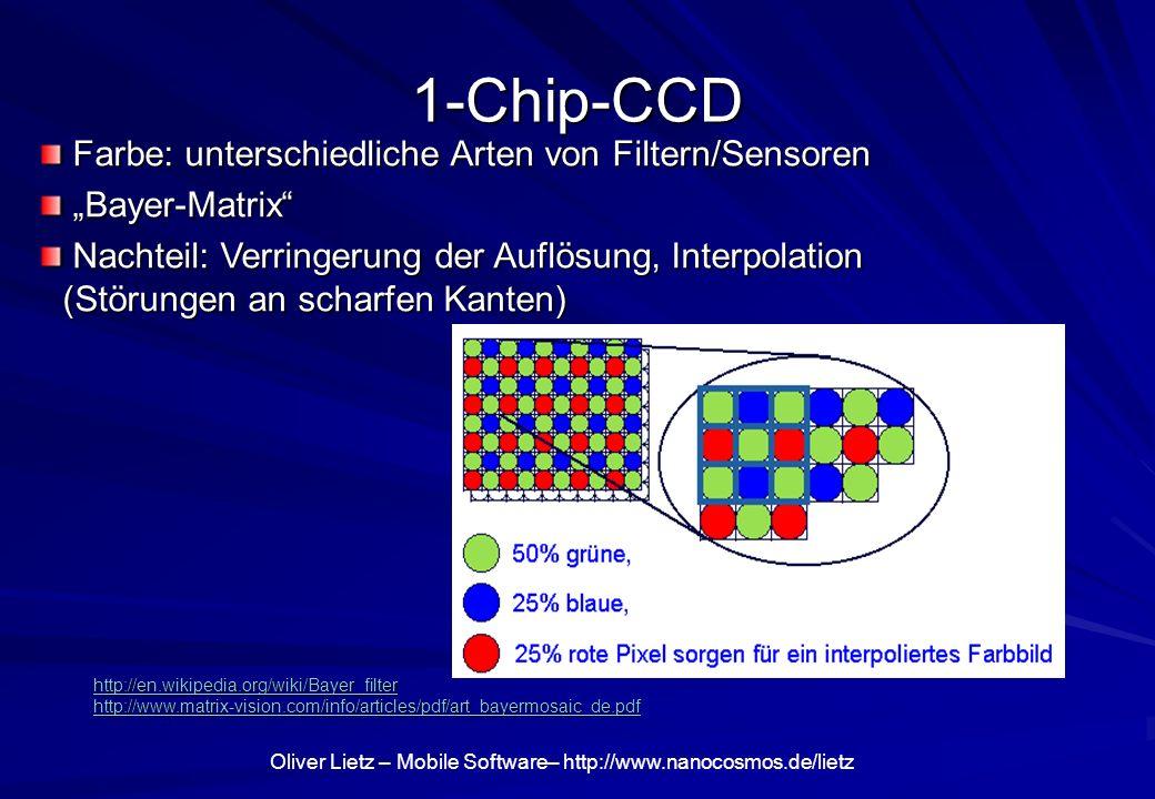 Oliver Lietz – Mobile Software– http://www.nanocosmos.de/lietz 1-Chip-CCD Farbe: unterschiedliche Arten von Filtern/Sensoren Farbe: unterschiedliche A