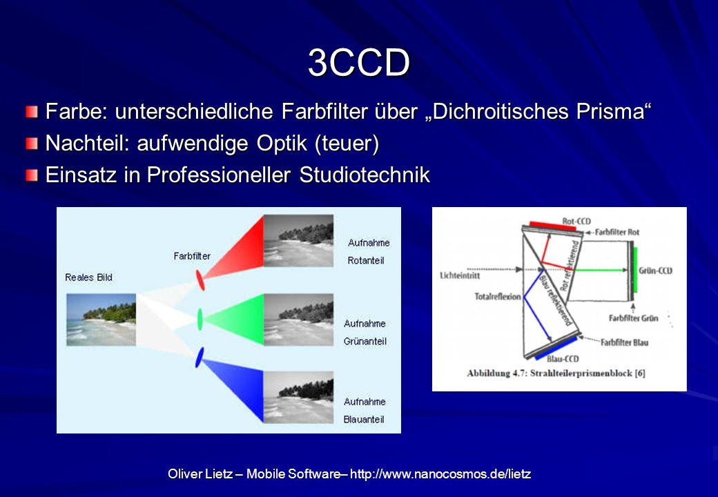 Oliver Lietz – Mobile Software– http://www.nanocosmos.de/lietz 3CCD Farbe: unterschiedliche Farbfilter über Dichroitisches Prisma Farbe: unterschiedli