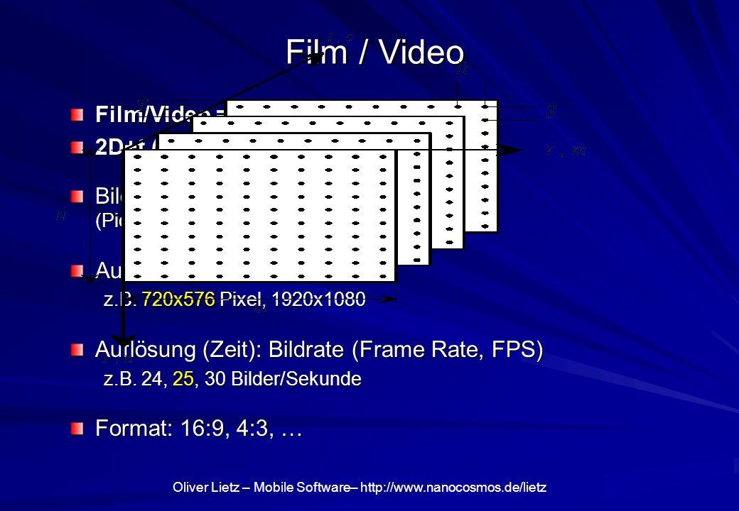 Oliver Lietz – Mobile Software– http://www.nanocosmos.de/lietz Film / Video Film/Video = Bewegte Bilder 2D+t (Ort+Zeit) Bildelemente (Picture Elements