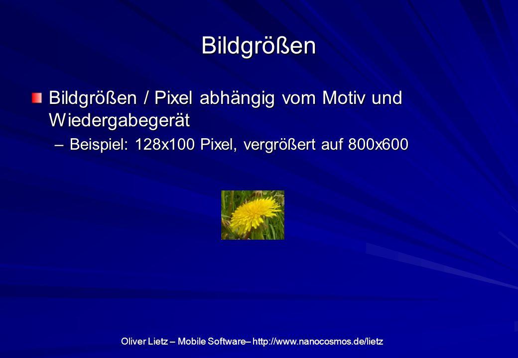 Oliver Lietz – Mobile Software– http://www.nanocosmos.de/lietz Bildgrößen Bildgrößen / Pixel abhängig vom Motiv und Wiedergabegerät –Beispiel: 128x100