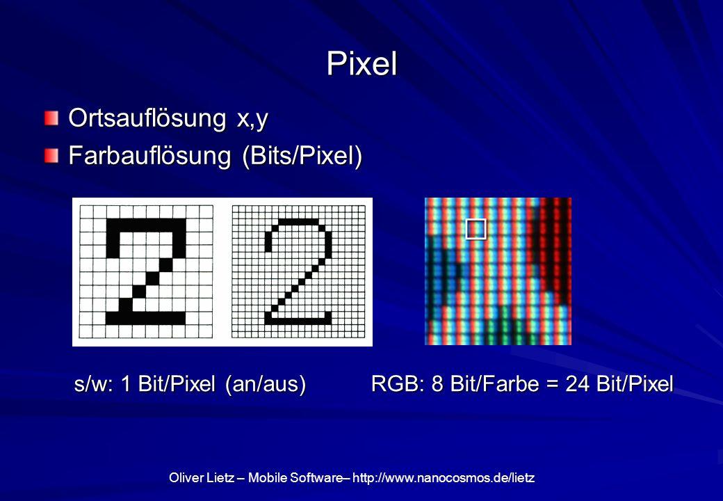 Pixel Ortsauflösung x,y Farbauflösung (Bits/Pixel) s/w: 1 Bit/Pixel (an/aus) RGB: 8 Bit/Farbe = 24 Bit/Pixel s/w: 1 Bit/Pixel (an/aus) RGB: 8 Bit/Farb