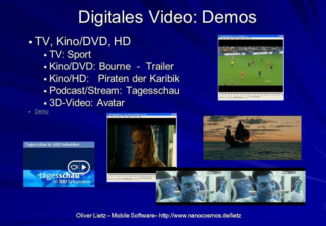Oliver Lietz – Mobile Software– http://www.nanocosmos.de/lietz Digitales Video: Demos TV, Kino/DVD, HD TV, Kino/DVD, HD TV: Sport TV: Sport Kino/DVD: