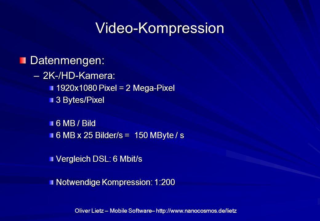 Oliver Lietz – Mobile Software– http://www.nanocosmos.de/lietz Video-Kompression Datenmengen: –2K-/HD-Kamera: 1920x1080 Pixel = 2 Mega-Pixel 3 Bytes/P
