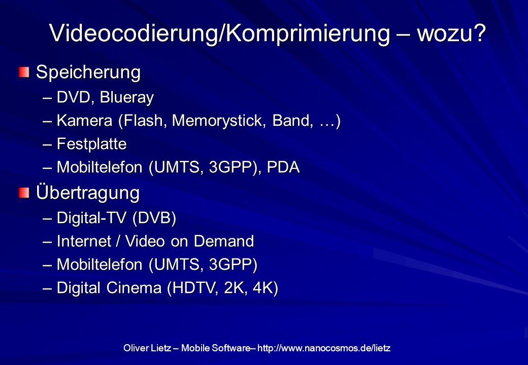 Oliver Lietz – Mobile Software– http://www.nanocosmos.de/lietz Videocodierung/Komprimierung – wozu? Speicherung Speicherung – DVD, Blueray – Kamera (F
