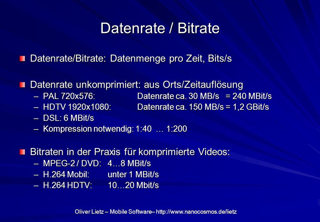 Oliver Lietz – Mobile Software– http://www.nanocosmos.de/lietz Datenrate / Bitrate Datenrate/Bitrate: Datenmenge pro Zeit, Bits/s Datenrate unkomprimi