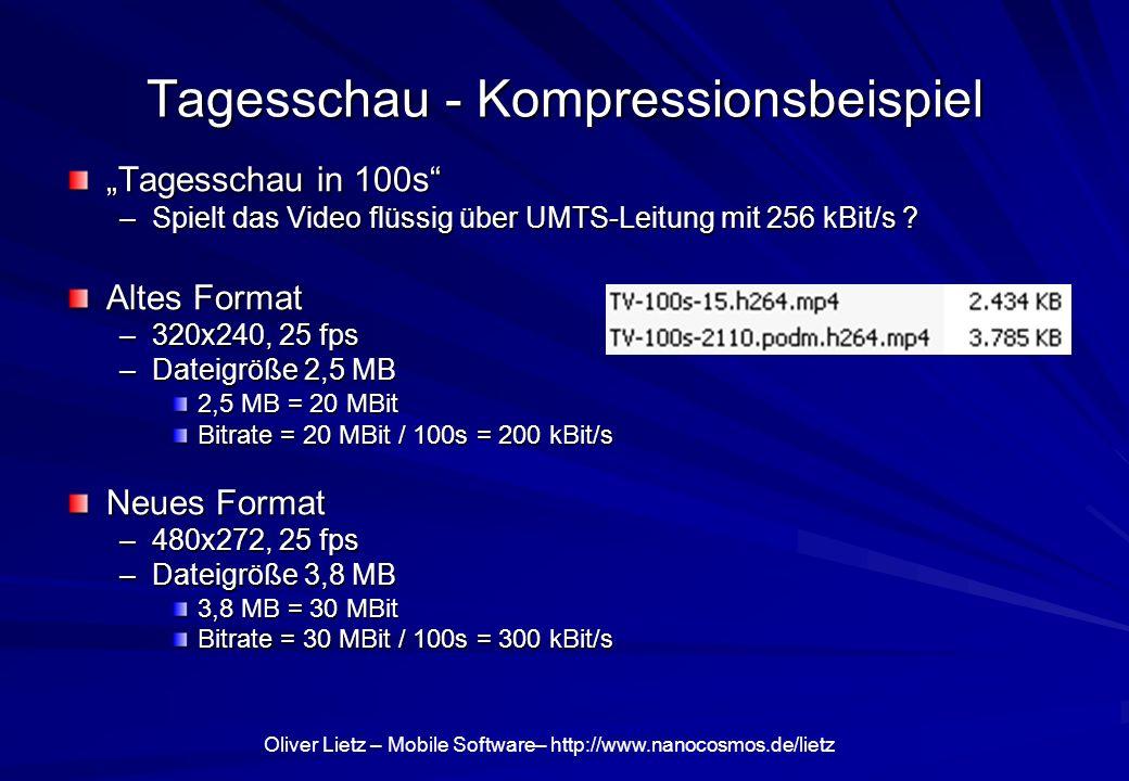 Oliver Lietz – Mobile Software– http://www.nanocosmos.de/lietz Tagesschau - Kompressionsbeispiel Tagesschau in 100s –Spielt das Video flüssig über UMT