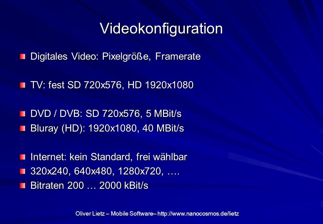 Oliver Lietz – Mobile Software– http://www.nanocosmos.de/lietz Videokonfiguration Digitales Video: Pixelgröße, Framerate TV: fest SD 720x576, HD 1920x