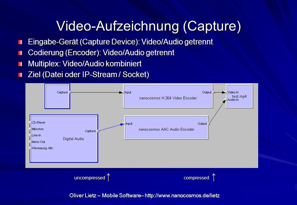 Video-Aufzeichnung (Capture) Eingabe-Gerät (Capture Device): Video/Audio getrennt Codierung (Encoder): Video/Audio getrennt Multiplex: Video/Audio kom