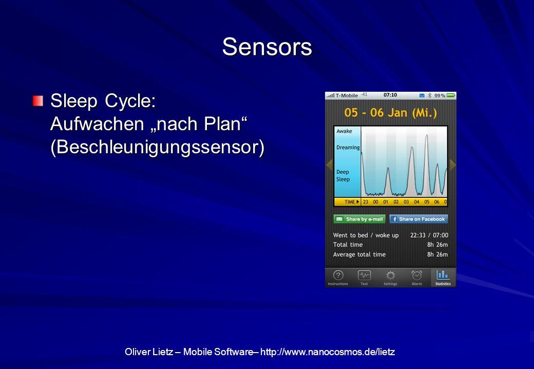 Oliver Lietz – Mobile Software– http://www.nanocosmos.de/lietz Sensors Sleep Cycle: Aufwachen nach Plan (Beschleunigungssensor)