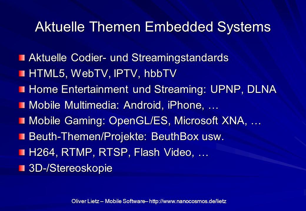 Oliver Lietz – Mobile Software– http://www.nanocosmos.de/lietz Home / Entertainment Philips NetTV Architecture: TV, Bluray, etc.