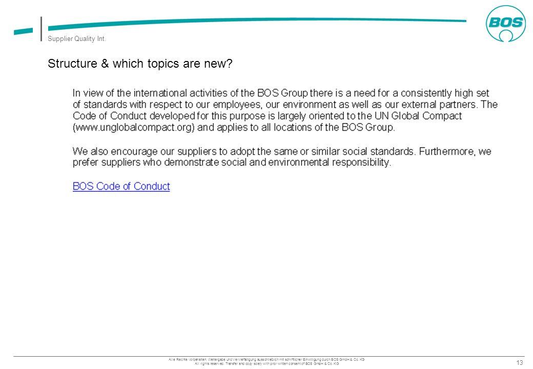 13 Supplier Quality Int. Alle Rechte vorbehalten. Weitergabe und Vervielfältigung ausschließlich mit schriftlicher Einwilligung durch BOS GmbH & Co. K