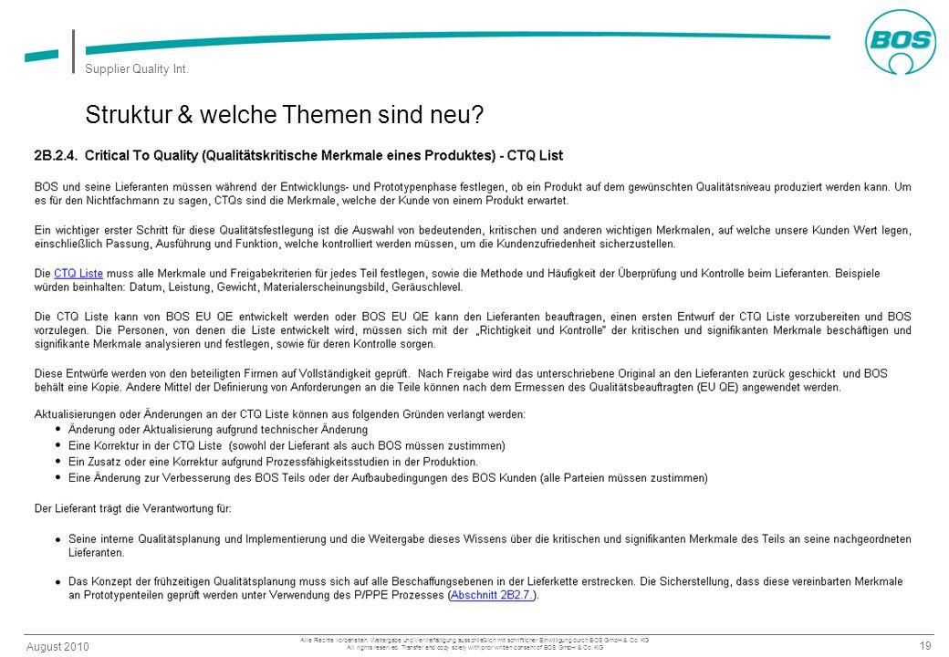 19 August 2010 Supplier Quality Int. Alle Rechte vorbehalten. Weitergabe und Vervielfältigung ausschließlich mit schriftlicher Einwilligung durch BOS