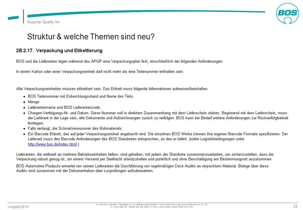 25 August 2010 Supplier Quality Int. Alle Rechte vorbehalten. Weitergabe und Vervielfältigung ausschließlich mit schriftlicher Einwilligung durch BOS