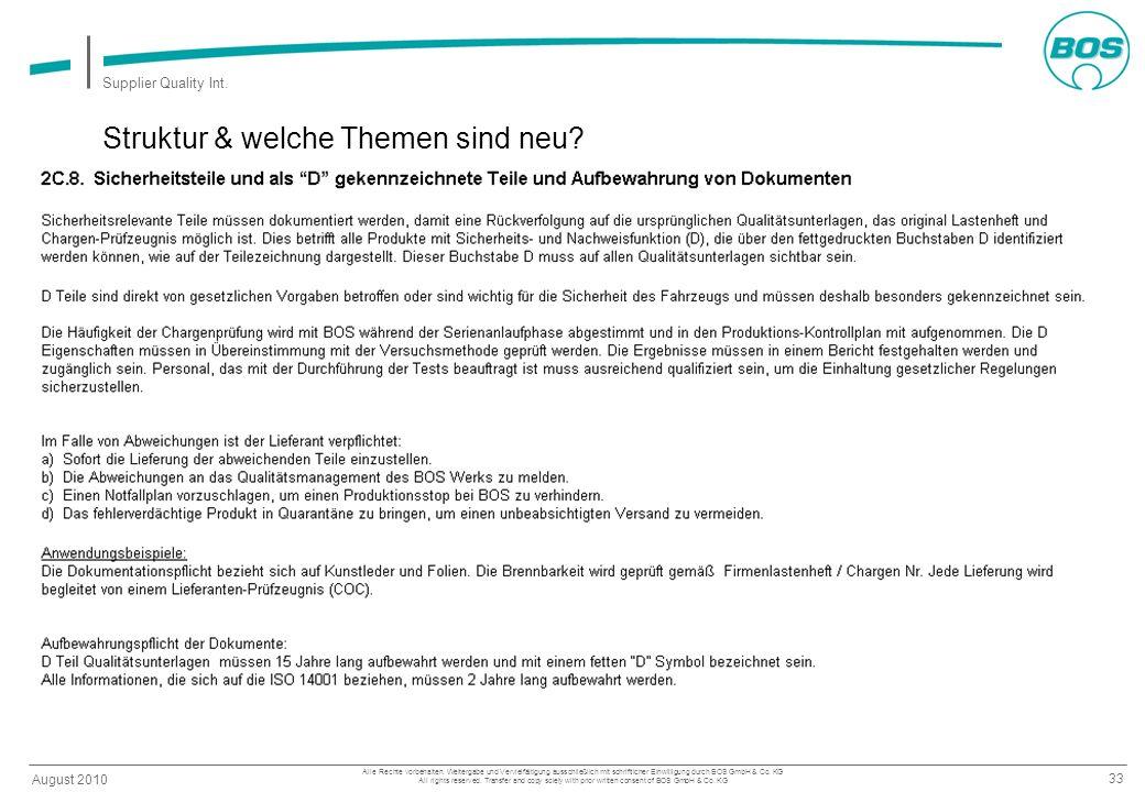 33 August 2010 Supplier Quality Int. Alle Rechte vorbehalten. Weitergabe und Vervielfältigung ausschließlich mit schriftlicher Einwilligung durch BOS