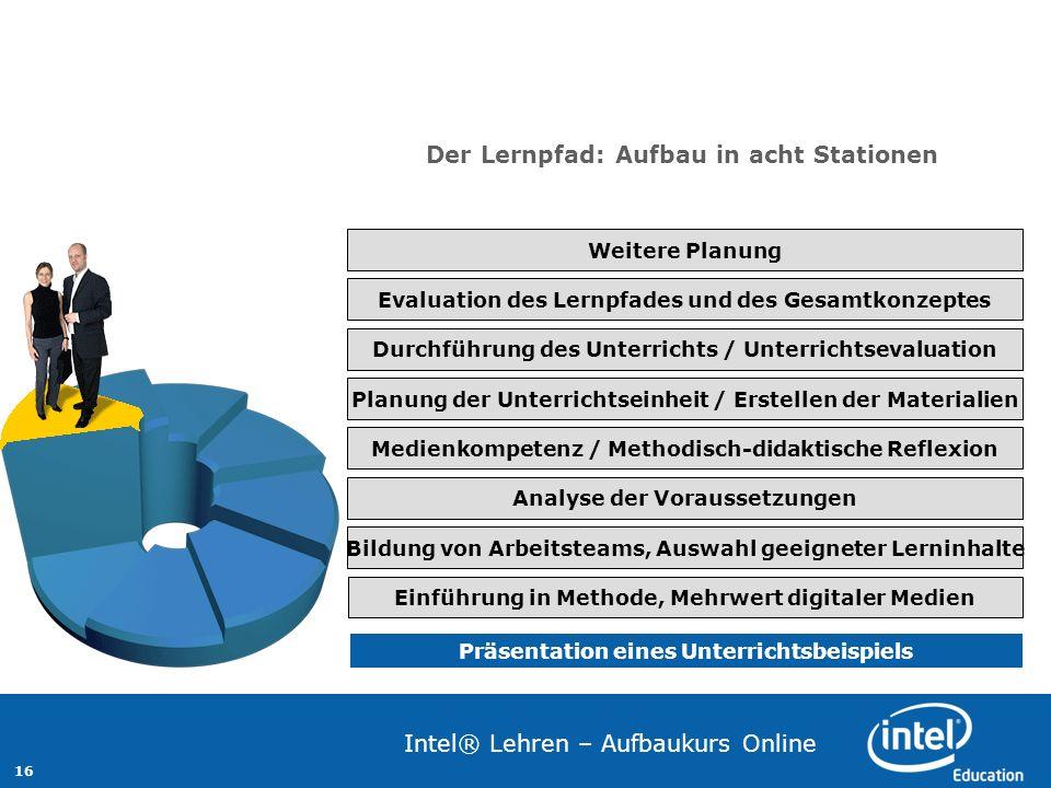 16 Intel® Lehren – Aufbaukurs Online Präsentation eines Unterrichtsbeispiels Einführung in Methode, Mehrwert digitaler Medien Bildung von Arbeitsteams