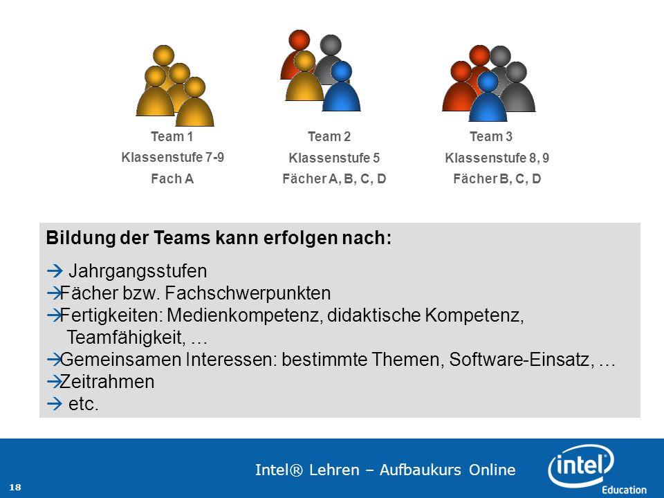 18 Intel® Lehren – Aufbaukurs Online Team 1 Klassenstufe 7-9 Fach A Team 2 Klassenstufe 5 Fächer A, B, C, D Team 3 Klassenstufe 8, 9 Fächer B, C, D Bi