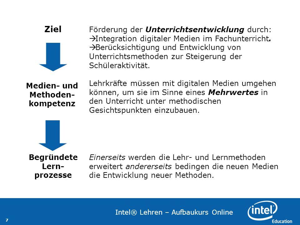 7 Intel® Lehren – Aufbaukurs Online Förderung der Unterrichtsentwicklung durch: Integration digitaler Medien im Fachunterricht. Berücksichtigung und E