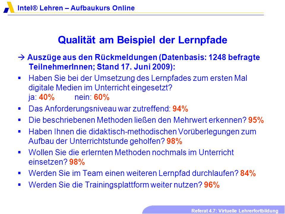 Intel® Lehren – Aufbaukurs Online Referat 4.7: Virtuelle Lehrerfortbildung Arbeitsplan- Symposium 2008
