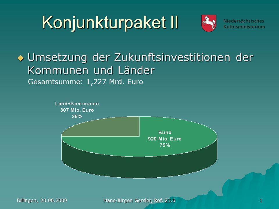 Konjunkturpaket II Dillingen, 20.06.2009 Hans-Jürgen Gorsler, Ref. 23.6 2 Aufteilung Bundesmittel