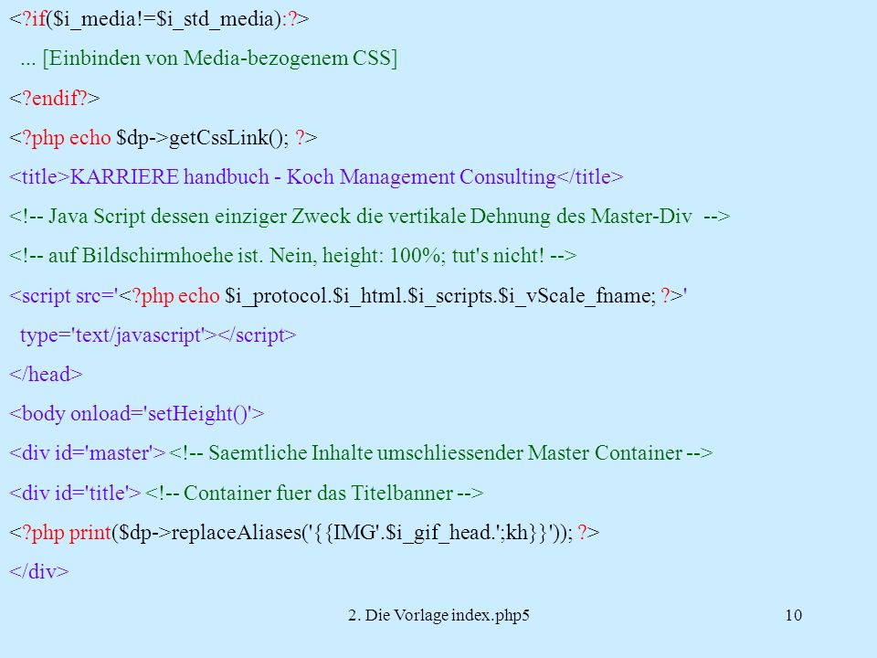 2. Die Vorlage index.php510...