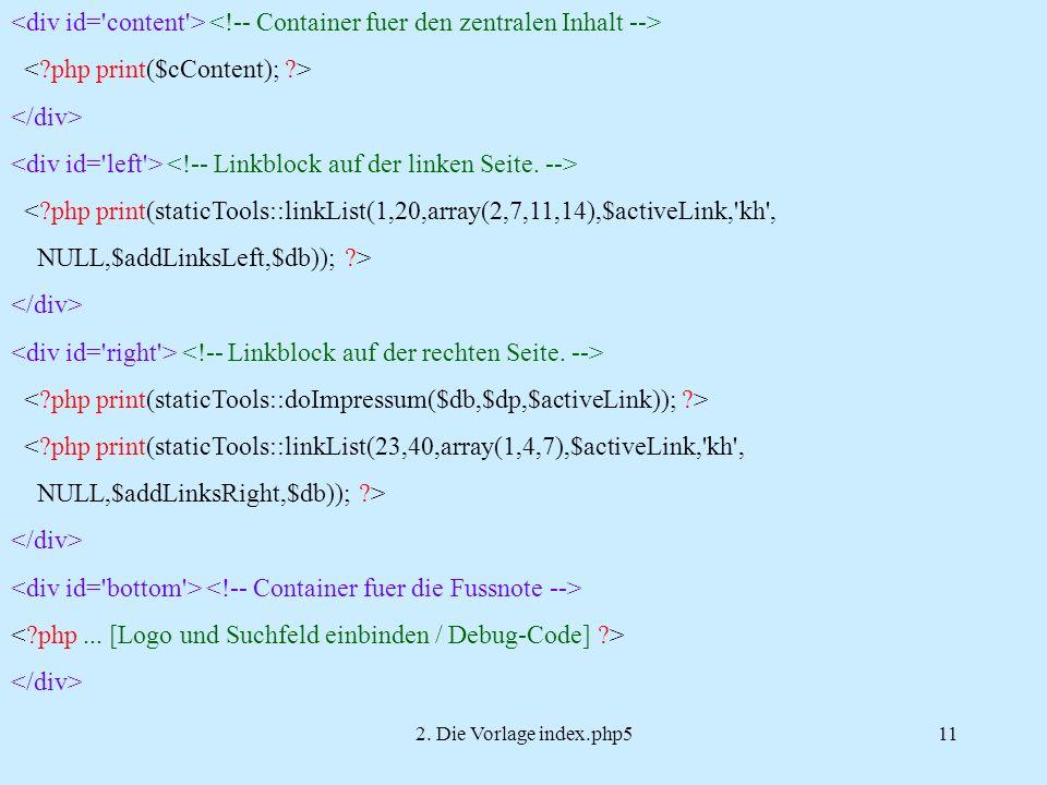 2. Die Vorlage index.php511 <?php print(staticTools::linkList(1,20,array(2,7,11,14),$activeLink,'kh', NULL,$addLinksLeft,$db)); ?> <?php print(staticT