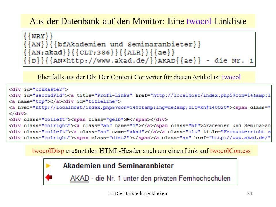 5. Die Darstellungsklassen21 Aus der Datenbank auf den Monitor: Eine twocol-Linkliste Ebenfalls aus der Db: Der Content Converter für diesen Artikel i