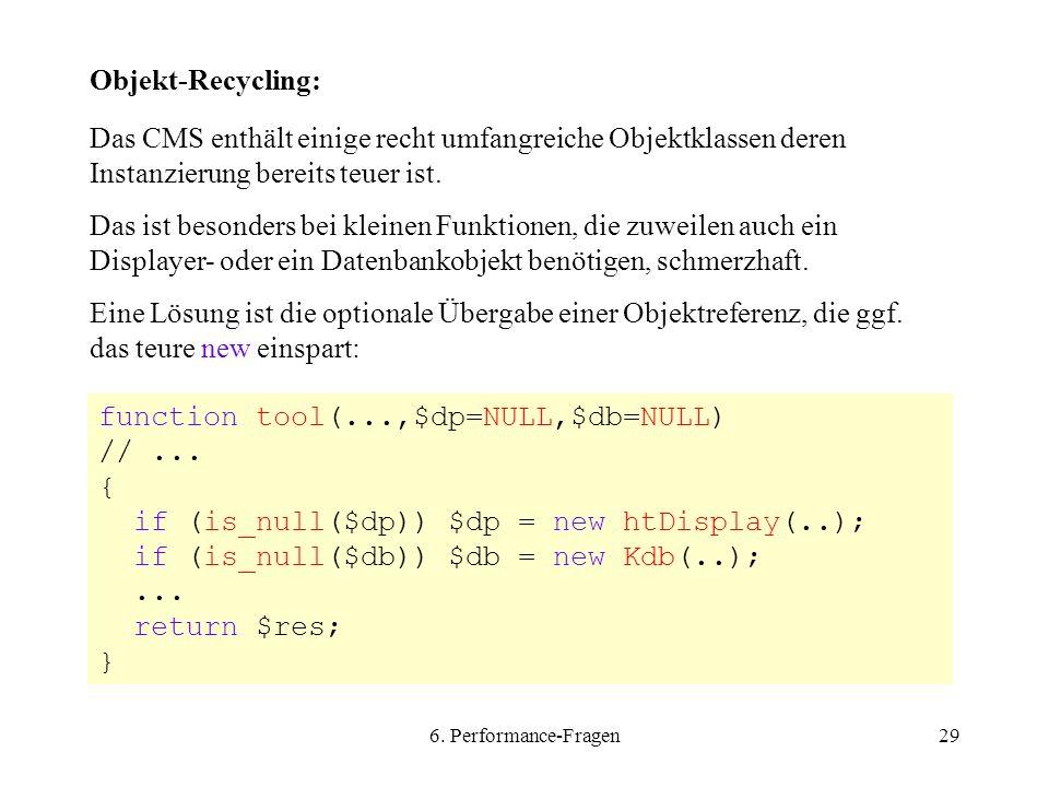 6. Performance-Fragen29 Objekt-Recycling: Das CMS enthält einige recht umfangreiche Objektklassen deren Instanzierung bereits teuer ist. Das ist beson