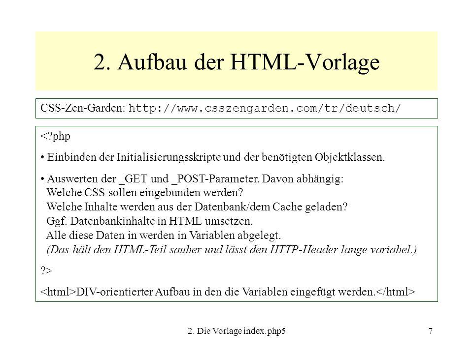 2. Die Vorlage index.php57 2.