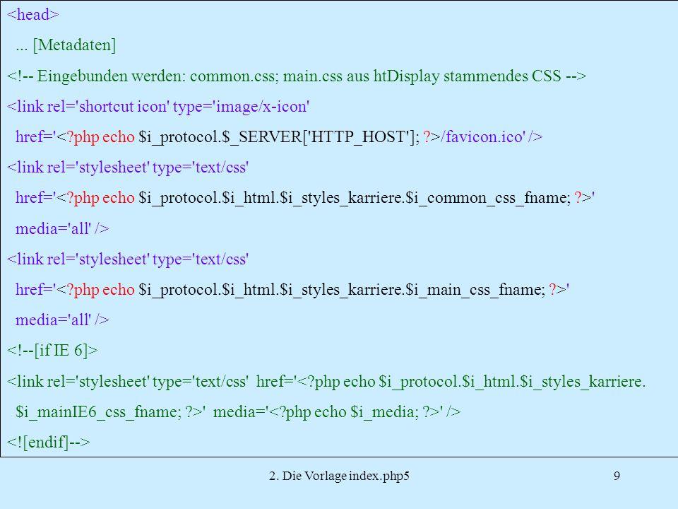 2.Die Vorlage index.php510...
