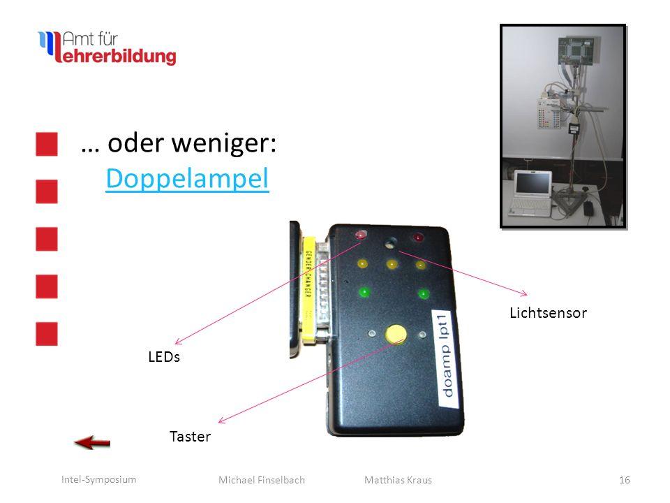 Michael Finselbach Intel-Symposium 17 … oder ganz … wenig Aufwand. Matthias Kraus